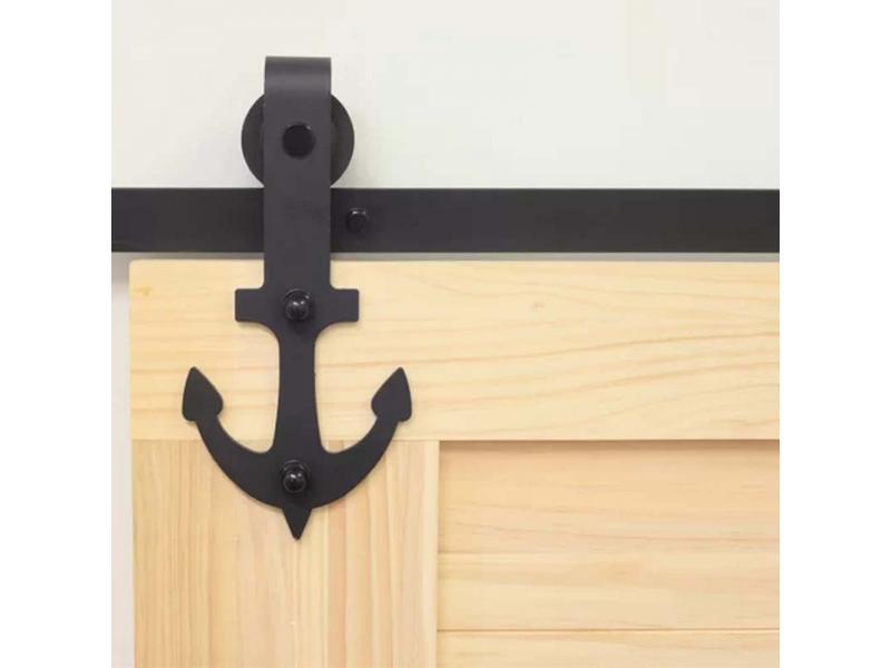 Anchor shape barn door hardware