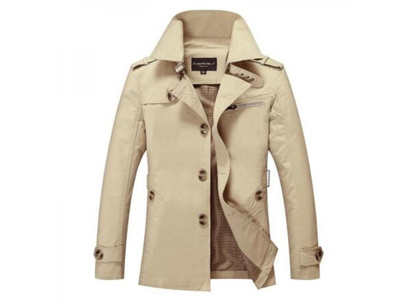 New High Quality Spring Autumn Trench Coat Men Solid Slim Fit Cotton Men Casual Jacket Outwear