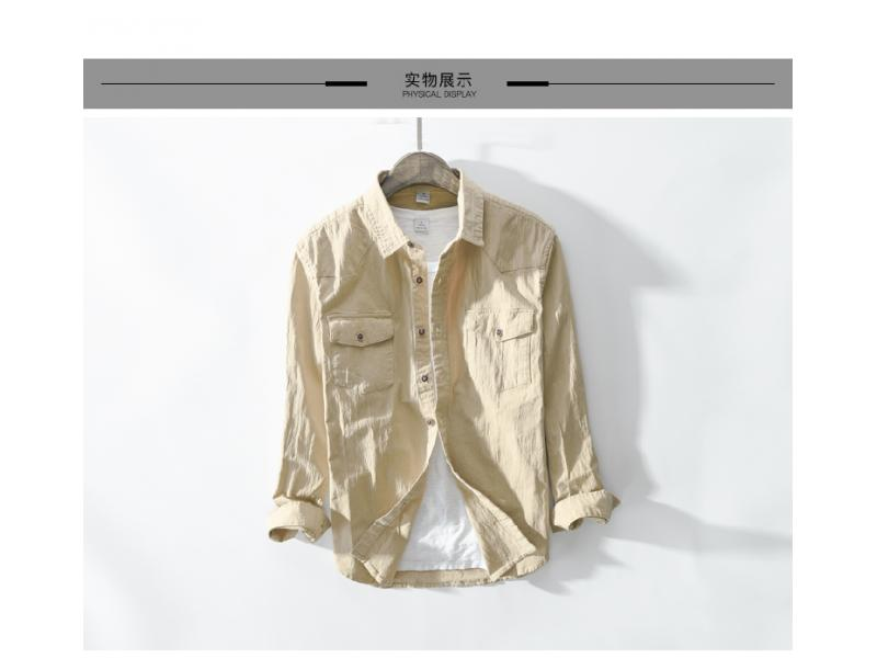 LFF Spring And Autumn Men Fashion Green Khaki Color Long Sleeve Cotton Shirt Male Casual Vintage