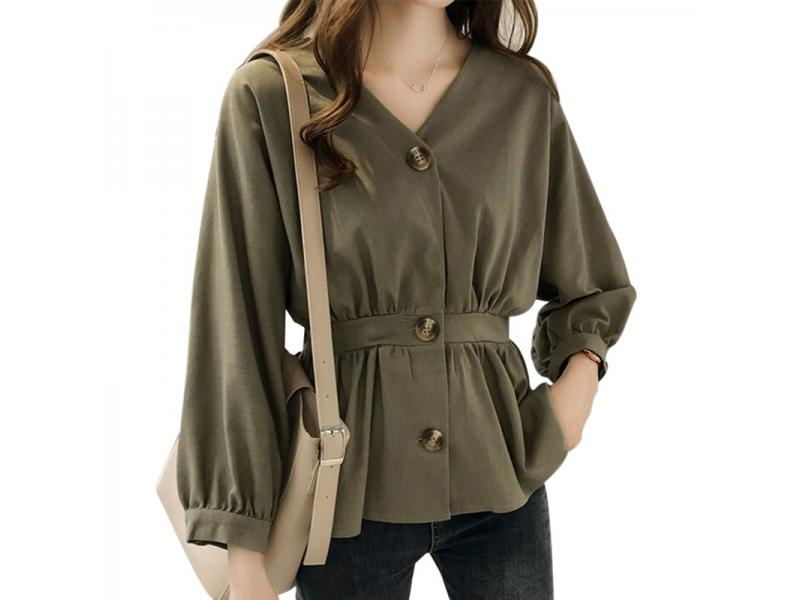 Women's Casual V Neck Button Up Slim Ruffles Waist Long Sleeve Solid Blouse Batwing Sleeve Shirt Wo