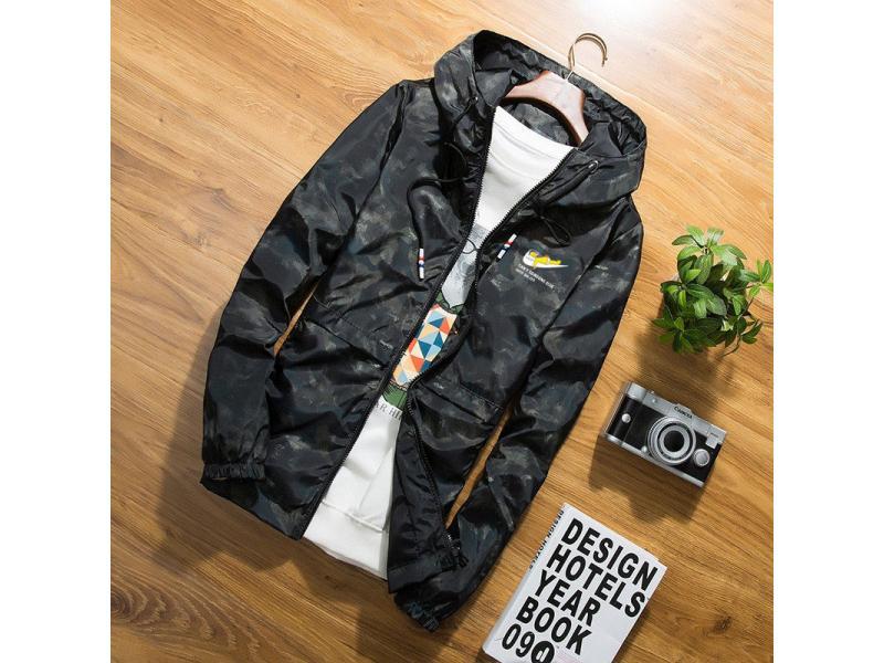 Autumn black jacket men thin jackets men casual hip hop windbreaker hooded jacket coat zipper parka