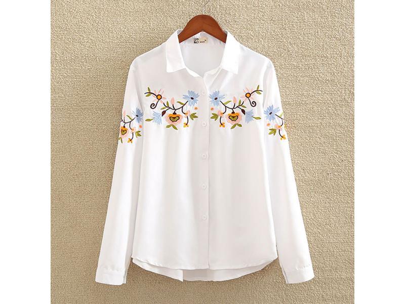 Embroidery White Cotton Shirt 2019 Autumn New Fashion Women Blouse Long Sleeve Casual Blusas Feminin