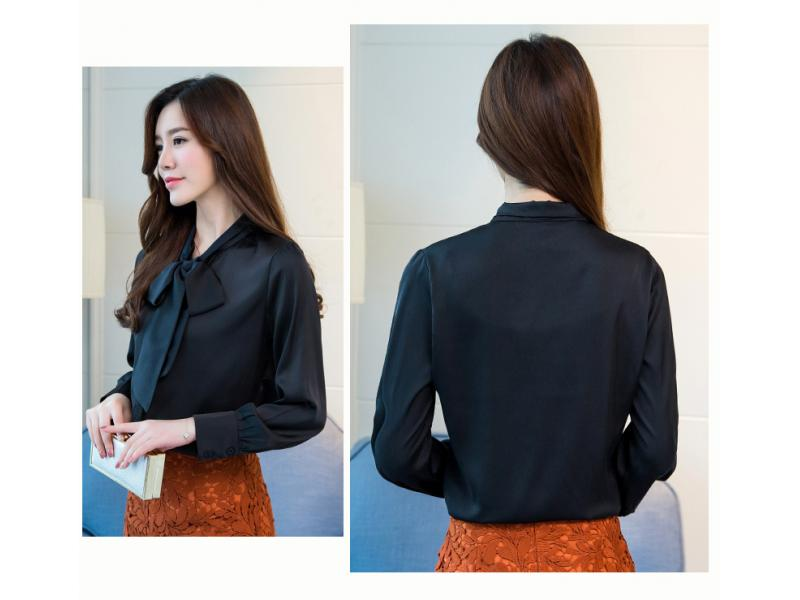 Stinlicher Elegant Ladies Bow Tie Shirt Women Vintage Blouse Shirt Autumn Satin Silk Long Sleeve Shi