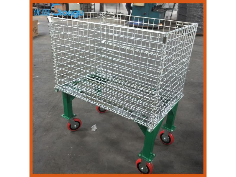 Folding Steel wire cage with wheel