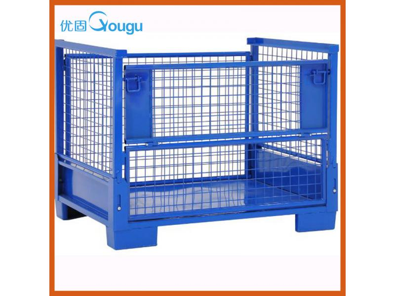 Powder coating heavy duty folding metal storage container