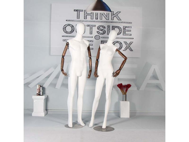 FRP mannequin male plus wooden arm