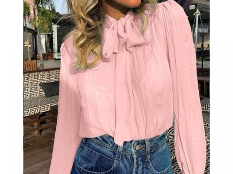 Elegant Bow Tie Women Shirt Spring Autumn Ladies Solid Long Sleeve Shirts Casual Blouses Vintage Top