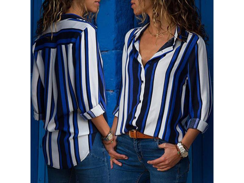 Striped Women Blouse Shirts New Loose Casual Long Sleeve Blouse Fashion Turn Down Collar Office Ladi