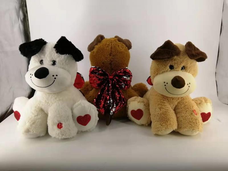 16'' puppy w/ sequin bow & music Stuffed animal