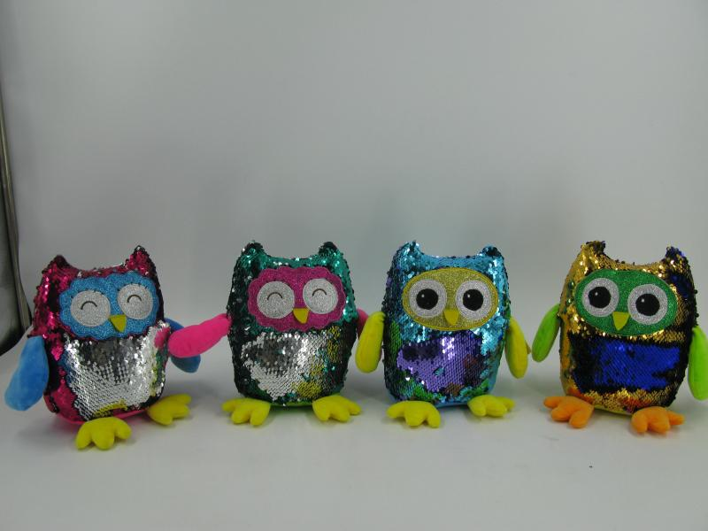 8'' Sequin owl Plush toy series