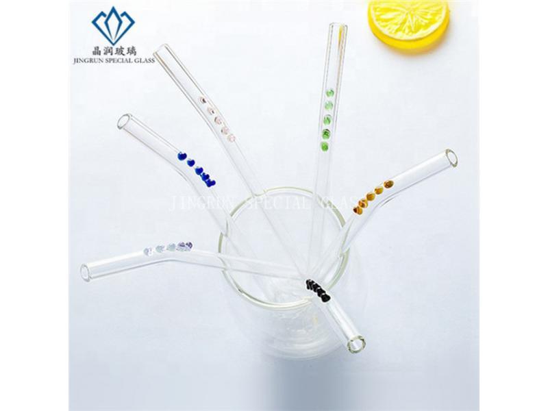 Reusable Transparent Borosilicate Glass Straws Handmade with Dots design