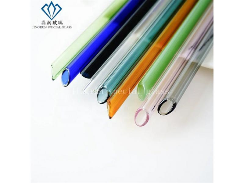 hot sale Borosilicate oblique mouth Glass Drinking Straw Colored Straws with angle top
