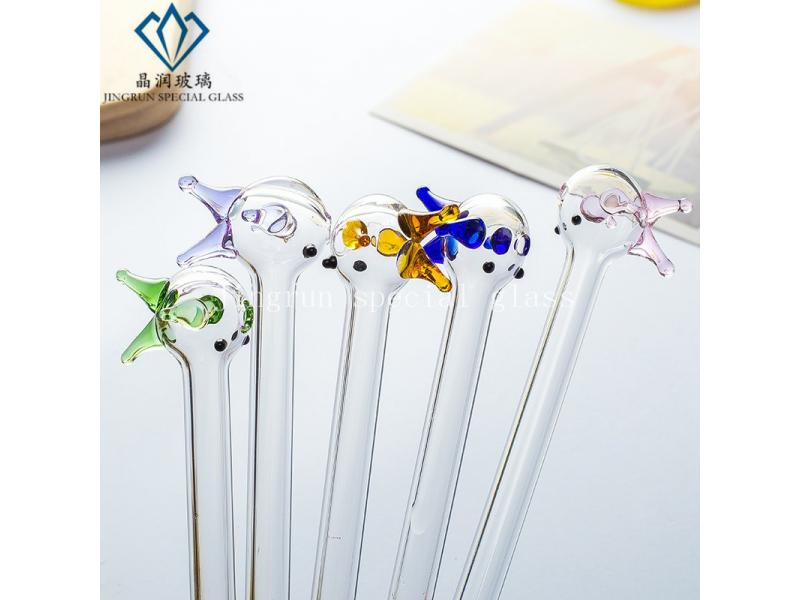 Small Fish Colorful Reusable High Borosilicate Glass Drinking Straws For Pregnant Woman
