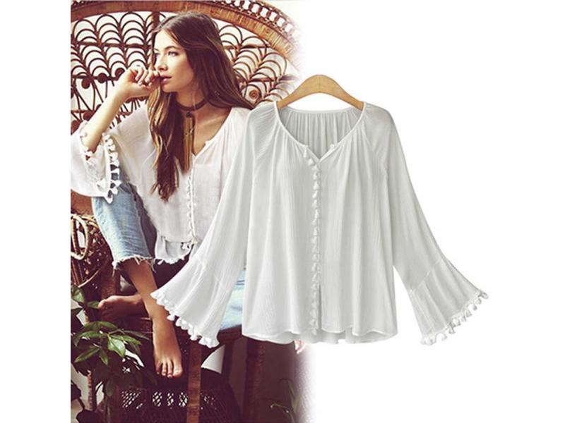 Ruffle Boho White Blouse Top Women Summer Autumn Retro Billow Long Sleeve V Neck Sexy Shirt Ladies C
