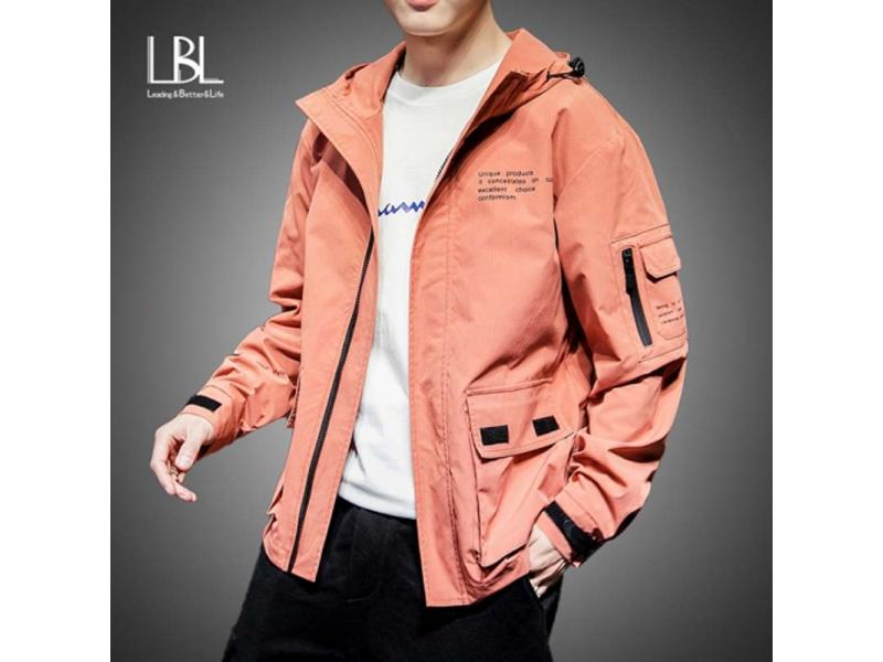 2019 Fashion Jacket Men Spring Autumn Casual Solid Ma 1 Zipper Bomber Jackets Orange Overcoat Baseba