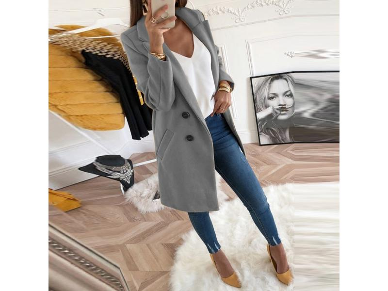 Women Plus Size XXXL Woollen Blends Overcoats 2019 Autumn Winter Long Sleeve Casual Oversize Outwear