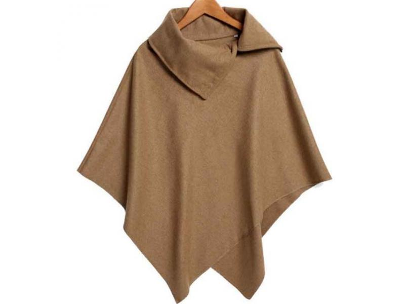 New Women Loose Batwing Sleeve Long Poncho Cape Irregular Hem Solid Woolen Plus Size Coat Shawl