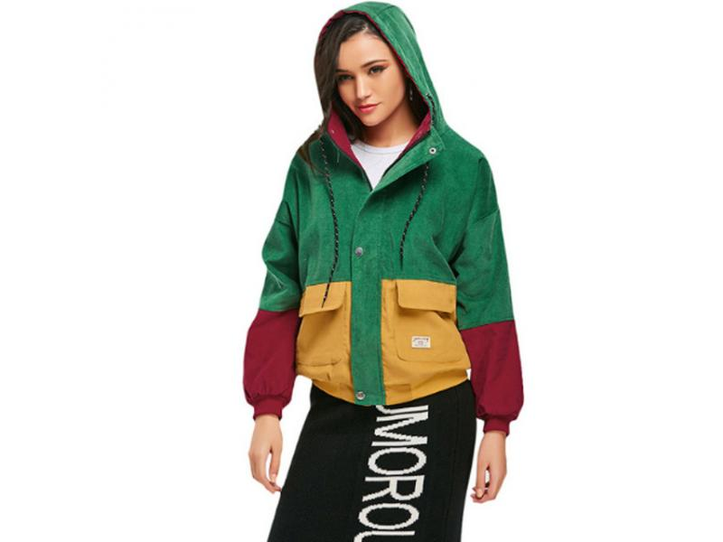 Winter Hooded Corduroy Jacket Long Sleeve Harajuku Pocket Color Patchwork Autumn Coats Women Plus si