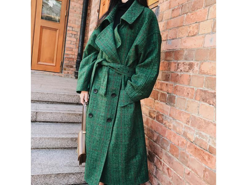 LANMREM Fashion Autumn Double Breasted Notech Casual Loose Big Size Long Type Green Plaid Women Wool