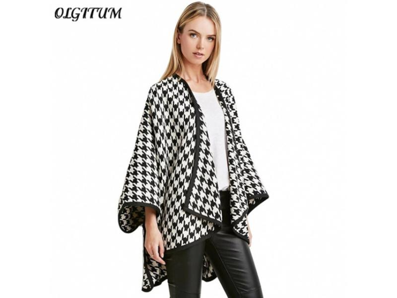 New Fashion high-quality women Argyle Grid Coat batwing sleeve Seven points sleeves Loose sweet Wome