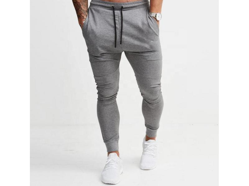 Custom mens skinny jogging tracksuit bottoms blank grey joggers men slim fit sweatpants plain cotton