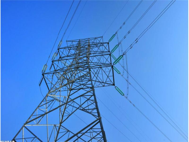 overhead electric power transmission high voltage line tower