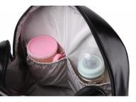 New Fashion PU Black Diaper Backpack for Baby Large Capacity Waterproof Pockets Diaper Bag for Mothe