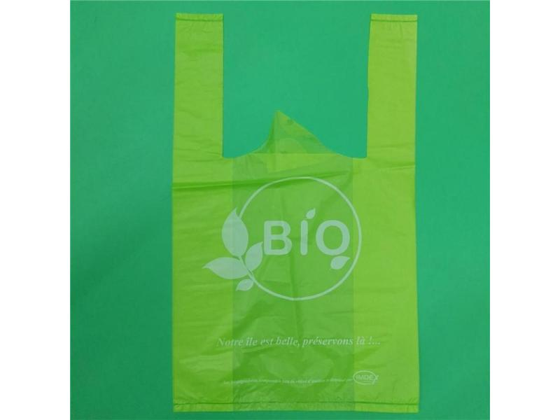 100% corn starch biodegradable T-shirt bags with printing