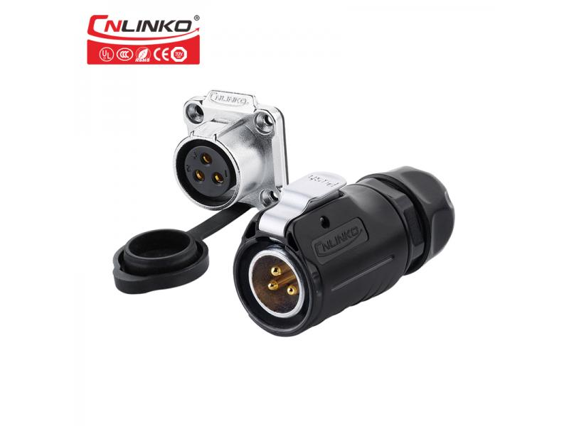 CNLINKO M20 Circular PBT shell 20A 3 pin male female Waterproof Power Connector