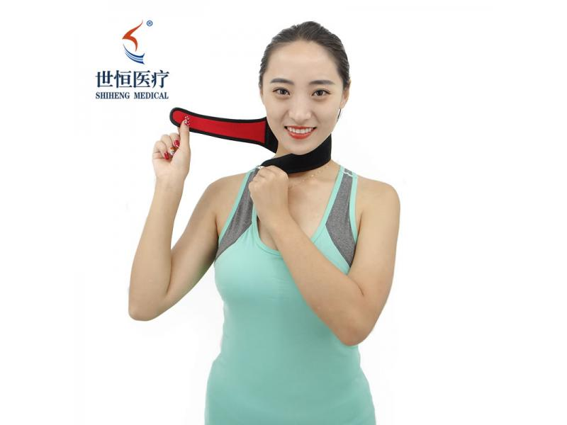 Self heating neck traction free size cervical protection with magnets