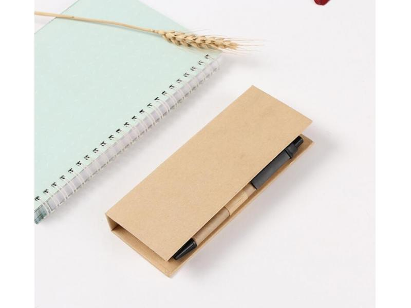 Creative environmental notes, kraft paper box with sticky notes, fluorescent notes, set of convenien