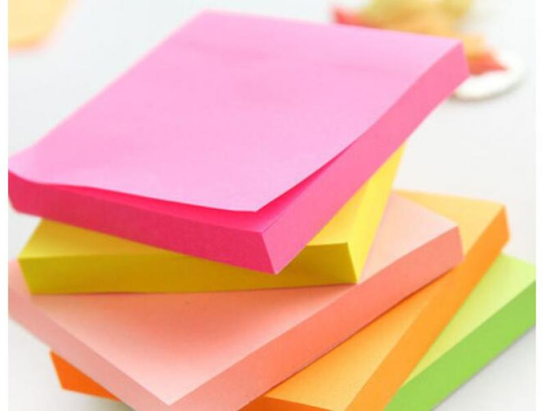 Fluorescent color post-it notes, mini n-time stickers, creative notes paper tiles, sticky notice sti