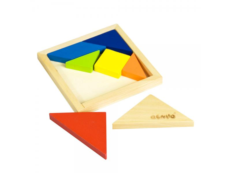 Wooden puzzle tangram