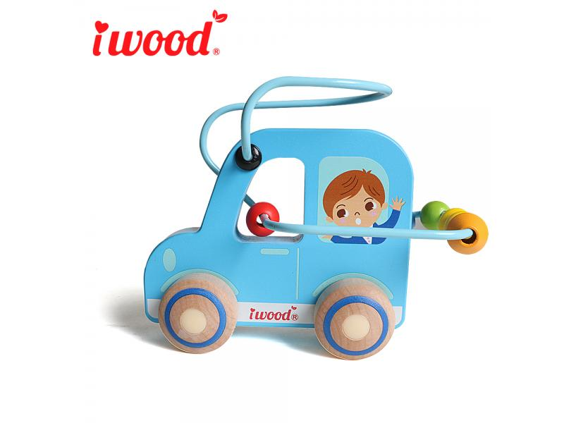 Wooden toy Car roller bead cart