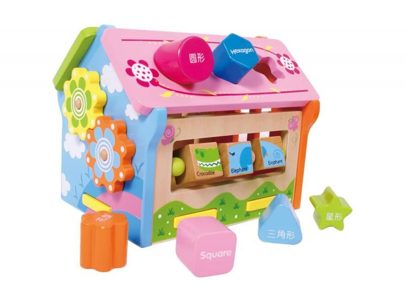Wooden funny shape blocks house