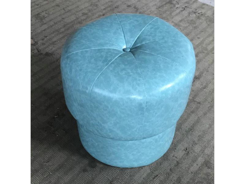 Try on change shoe leather art small stool dressing table blue leather art makeup stool round head s