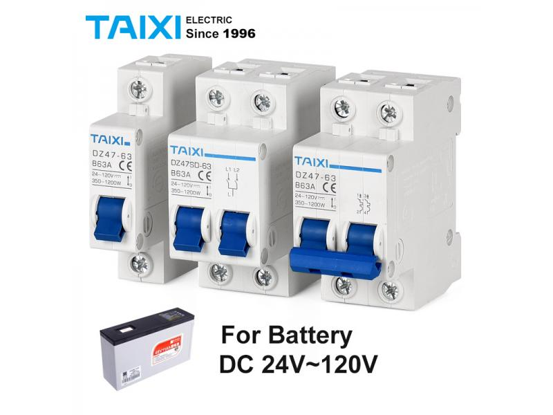 DC MCB 24V 48V 96V DZ47 circuit breaker dc 125A 63A 32A DZ47-63 power switch protector For battery c