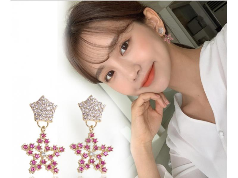 Girl heart pink star S925 silver pin earrings earrings
