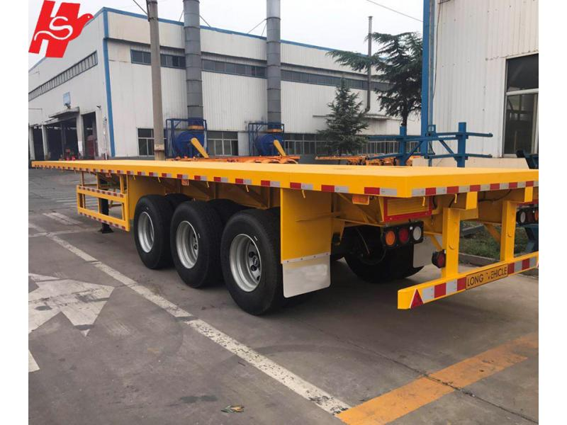 3 axles 40 ft flatbed container semi trailer with container lock