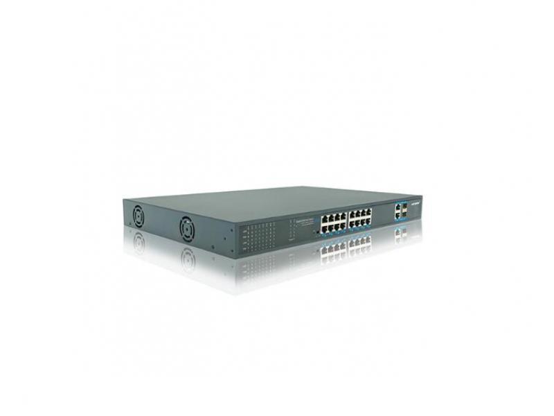 Standard 48V ultra long-distance transmission 16-port full Gigabit high-power POE switch