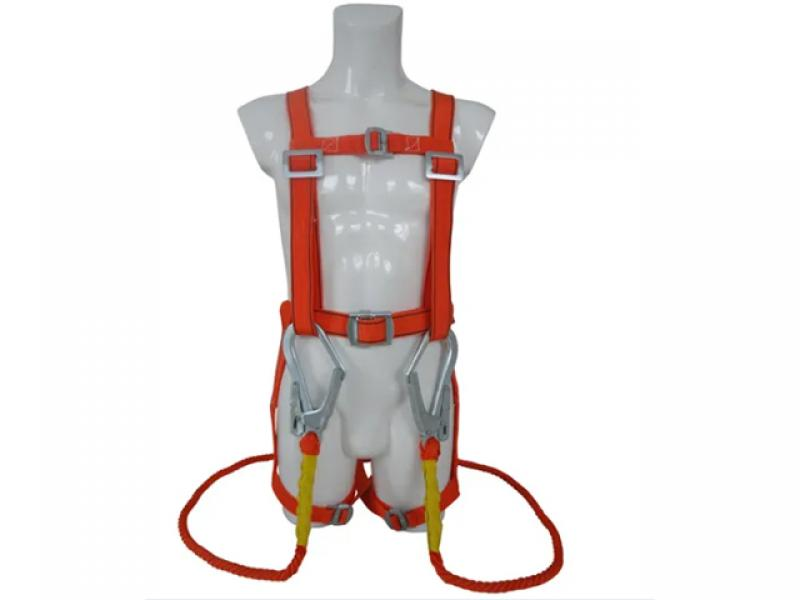 High Strength Double Lanyard Cheap Price Polyester Constrction Full Body Safety Harness