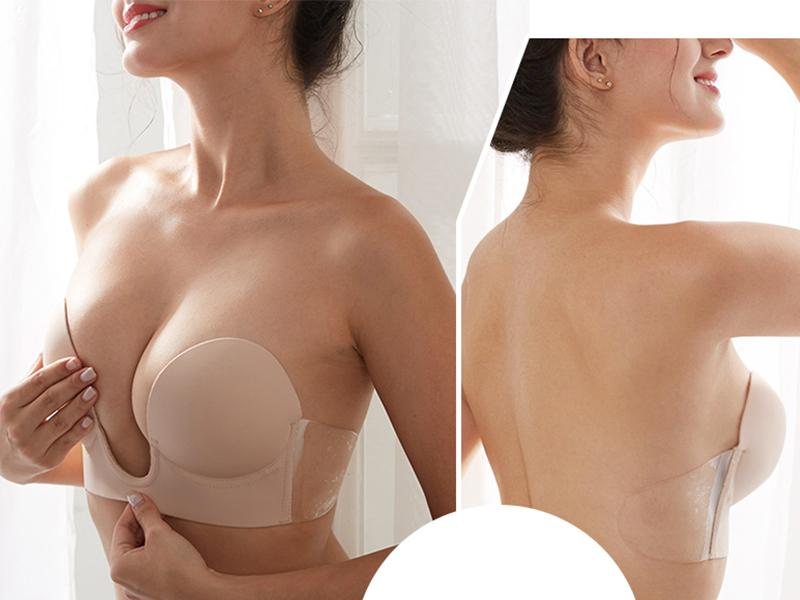 factory price  Women Sexy Deep V-shaped open cup bra mature nude Invisible Backless Dress Bra Self A