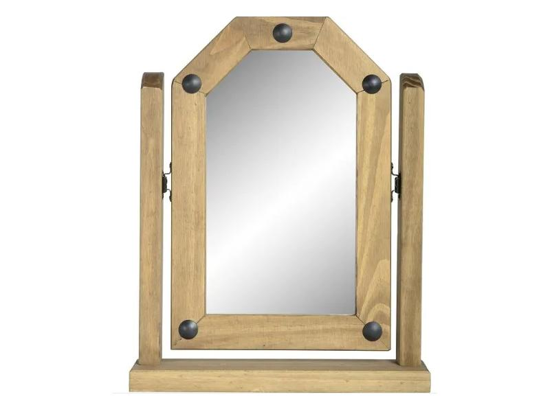Single Dress Up Swivel Mirror in Distressed Waxed Pine