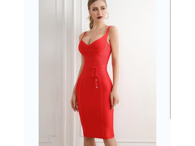 Hot Sale Several Colors V-Necked Waist Belt Bandage Dress Knee Length Dress
