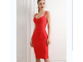 Hot Sale Several Colors V-Necked Waist Belt Bandage Dress Knee Length Dress