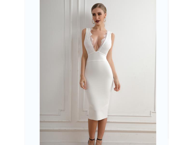 Women Sexy V Neck Sleeveless Lace Border Side Slit Bandage Dress