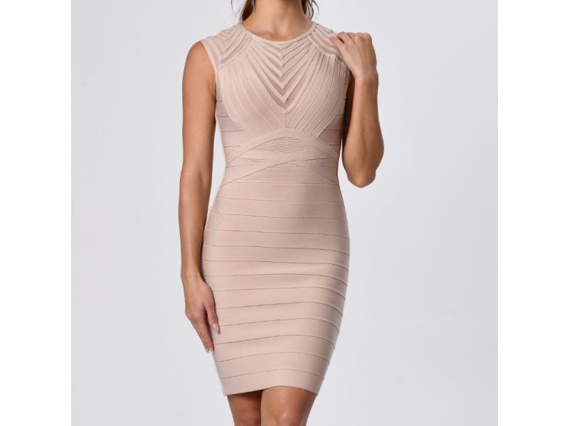 Women Wear Mesh Stripe Bodycon Bandage Dress with Short Sleeves