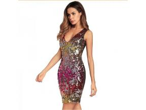 Sexy V-Neck Sleeveless Party Sparkly Sequin Bandage Mini Dress