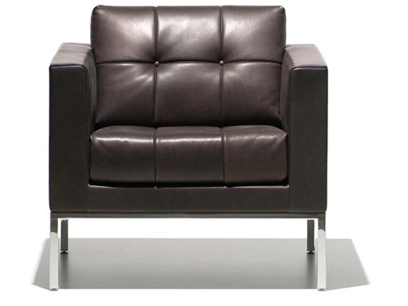 Office Furniture Wooden Sectional Sofa in Italian Leather