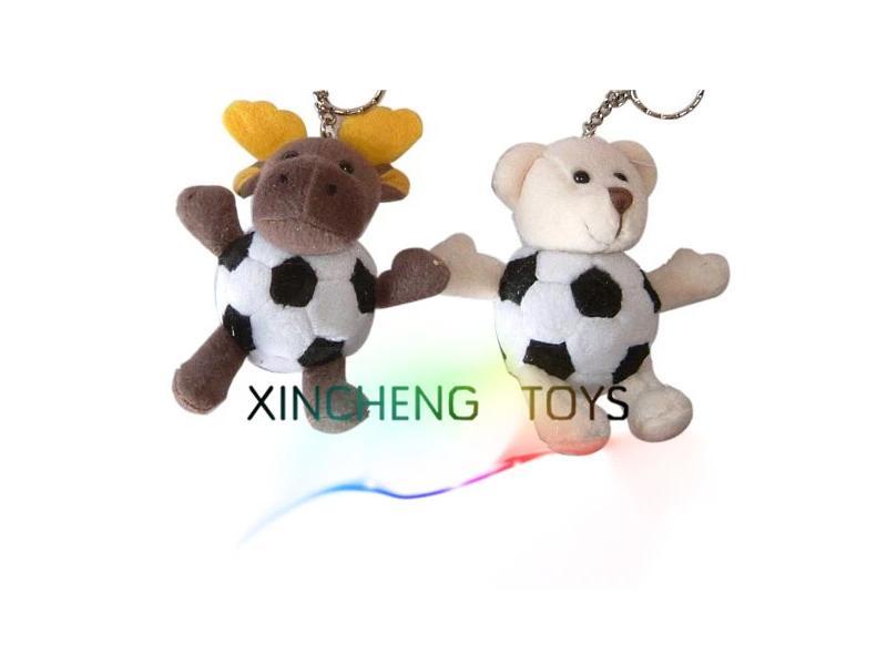 Plush Football Animal Keychain
